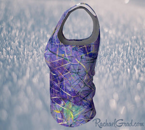Purple Tank Top in Regular Fitted Style by Toronto Artist Rachael Grad side view