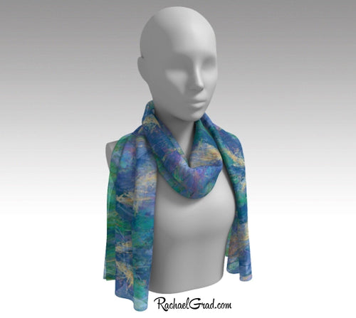 Purple Yellow Wild Flowers Abstract Art Scarf by Toronto Artist Rachael Grad on mannequin