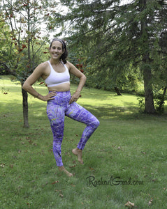 Purple Yoga Leggings on Jess by Artist Rachael Grad angled leg