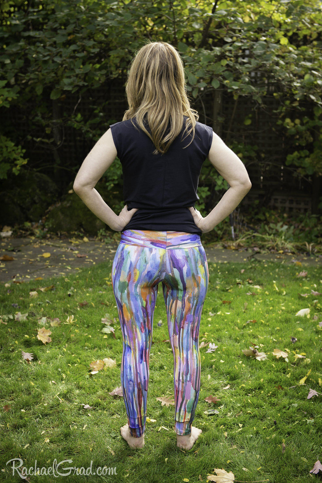 Women's Yoga Leggings - Rainbow-Leggings-Canadian Artist Rachael Grad