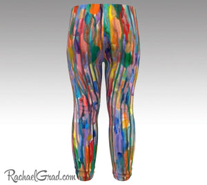 Rainbow Striped Baby Leggings, Multicolor Baby Tights Toddler Art Clothes by Artist Rachael Grad back view