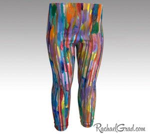 Rainbow Striped Baby Leggings, Multicolor Baby Tights Toddler Art Clothes by Artist Rachael Grad size 3T