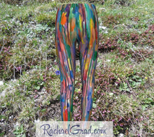 Load image into Gallery viewer, Kids Leggings with Rainbow Stripes Art by Toronto Artist Rachael Grad back view