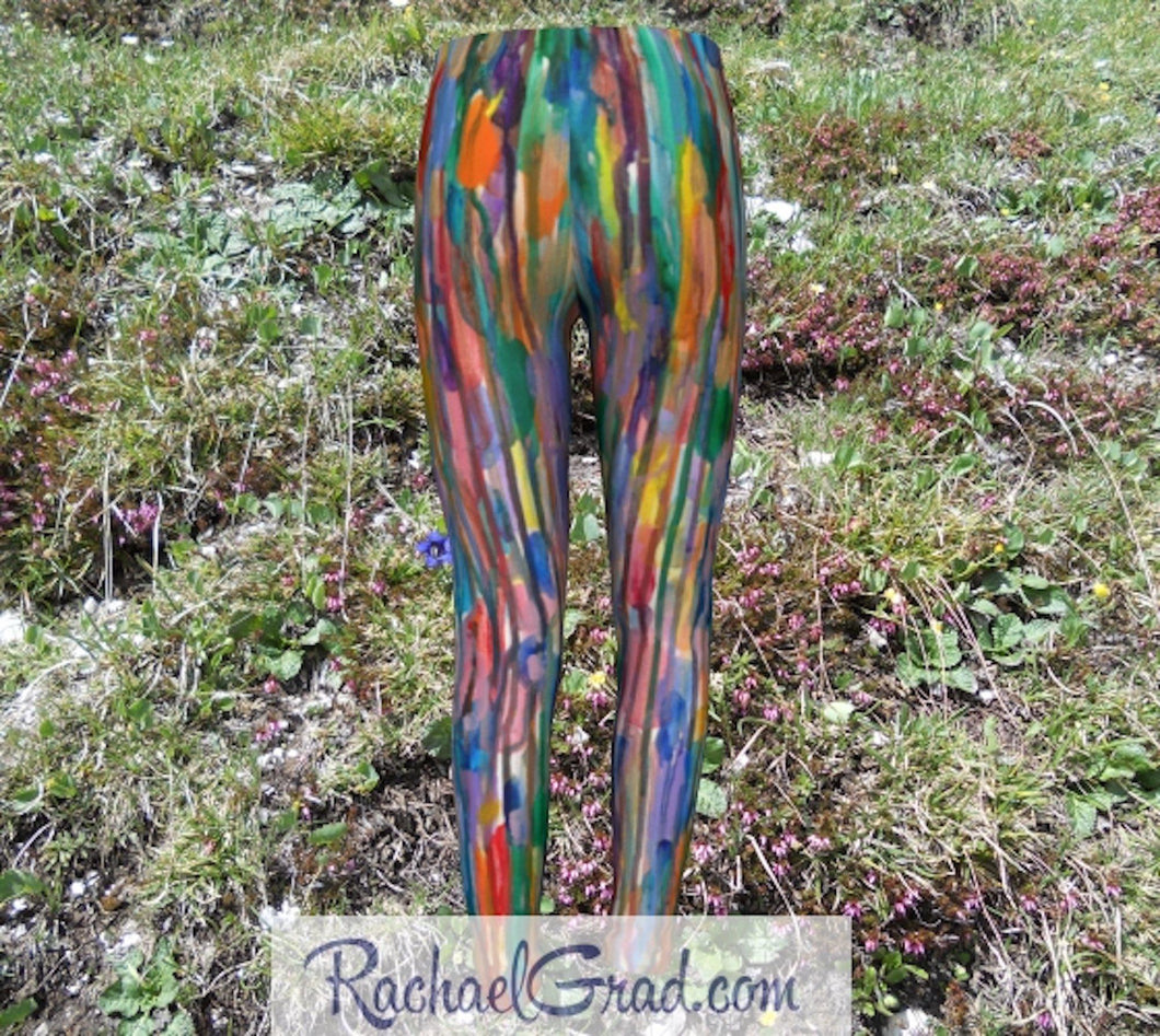 Kids Leggings with Rainbow Stripes Art by Toronto Artist Rachael Grad back view