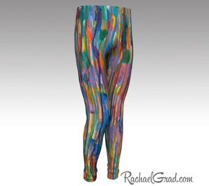 Kids Leggings with Rainbow Stripes Art by Toronto Artist Rachael Grad front