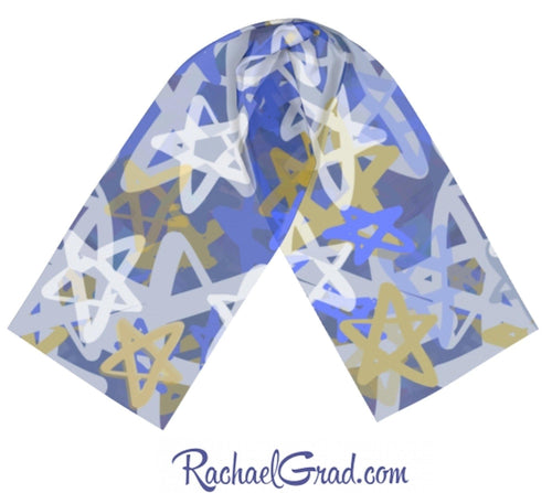 Silk Art Scarf with Blue Stars Art by Toronto Artist Rachael Grad