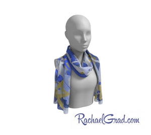 Silk Art Scarf with Blue and white Stars Art by Toronto Artist Rachael Grad