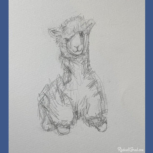 Silly Toy Llama Drawing by Canadian Artist Rachael Grad