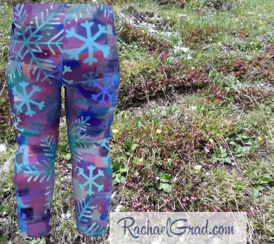 Holiday Gifts for Mom, Mommy and Me Matching Leggings Tights, Mom and Daughter Outfit, Snowflake Art Pants Set, Gift for Moms, New Mom Gifts by Artist Rachael Grad baby back