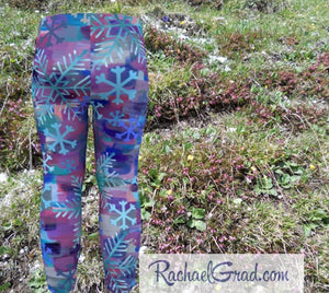 Holiday Gifts for Mom, Mommy and Me Matching Leggings Tights, Mom and Daughter Outfit, Snowflake Art Pants Set, Gift for Moms, New Mom Gifts by Artist Rachael Grad kids back
