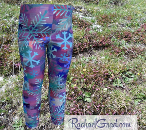 Snowflake Baby Leggings, Holiday Gifts for Kids Leggings Tights Winter Clothes, Babies Art Leggings Clothing Toddler Leggings Gift Pants by Artist Rachael Grad front
