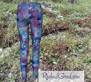 Snowflake Kids Leggings, Holiday Gifts for Kids Leggings, Girls Tights Teenage Winter Gifts Children Clothes, Art Leggings Tweens Clothing by Toronto Artist Rachael Grad back