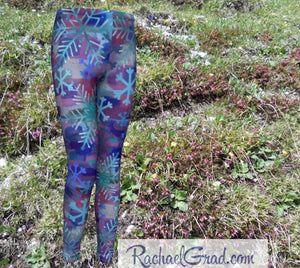 Snowflake Kids Leggings, Holiday Gifts for Kids Leggings, Girls Tights Teenage Winter Gifts Children Clothes, Art Leggings Tweens Clothing by Toronto Artist Rachael Grad front