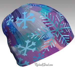 Hat Snowflake Art Pattern Hats Beanie Women Colorful Hats for Her, Winter Gifts by Artist Rachael Grad