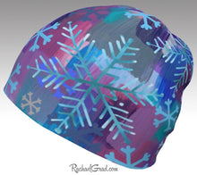 Load image into Gallery viewer, Winter Hat Snowflakes, Colourful Toque Women, Kids Beanie by Artist Rachael Grad