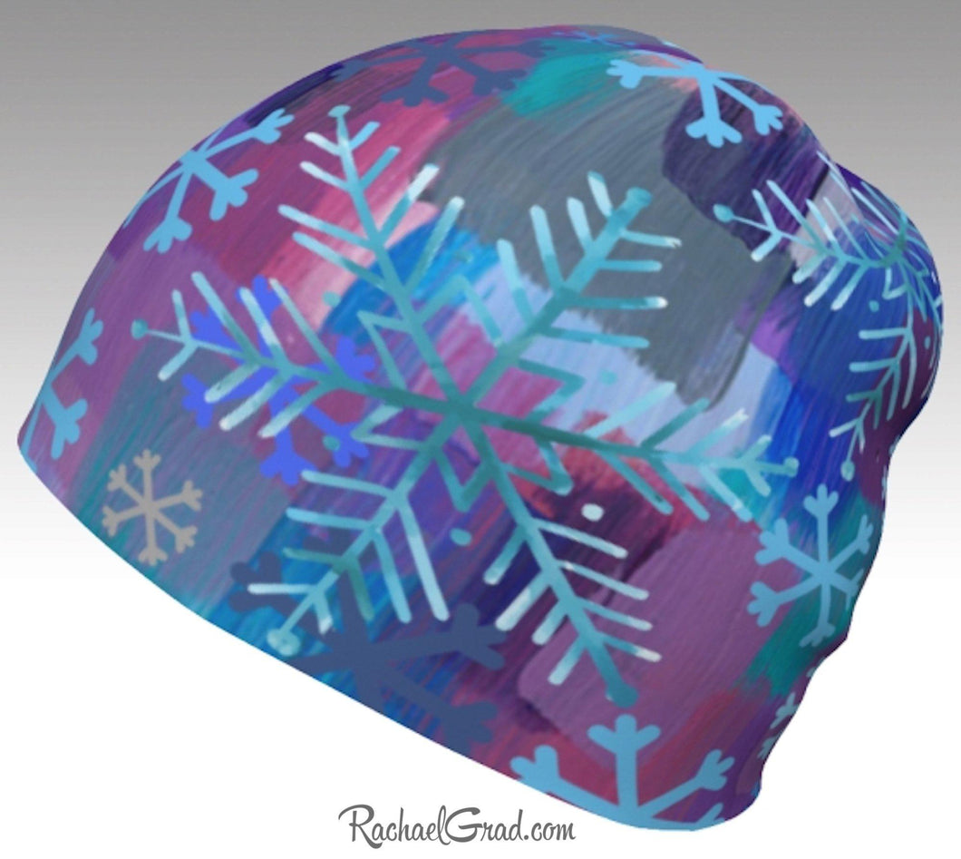 Winter Hat Snowflakes, Colourful Toque Women, Kids Beanie by Artist Rachael Grad