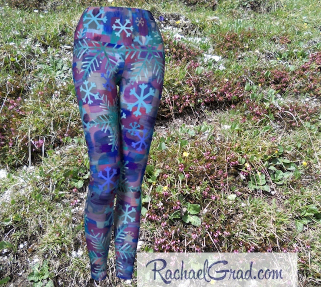 Snowflake Yoga Leggings for Women, Holiday Gift for Her, Purple Blue Tights, Winter Gifts Art Pants by Artist Rachael Grad