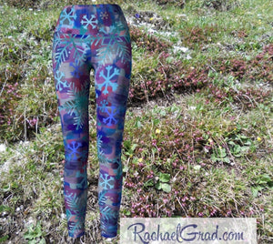 Snowflake Yoga Leggings for Women, Holiday Gift for Her, Purple Blue Tights, Winter Gifts Art Pants by Toronto Artist Rachael Grad