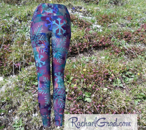 Snowflake Yoga Leggings for Women, Holiday Gift for Her, Purple Blue Tights, Winter Gifts Art Pants by Artist Rachael Grad back view