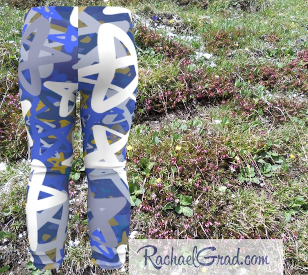 Star Leggings for Babies, Hanukkah Gift for Baby, Blue White Stars Tights, Chanukah Gifts Pants, Star Leggings for Toddlers Clothes Chanukah by Artist Rachael Grad back