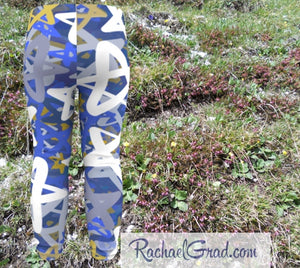 Star Leggings for Babies, Hanukkah Gift for Baby, Blue White Stars Tights, Chanukah Gifts Pants, Jewish Star Leggings for Toddlers Clothes Chanukah by Artist Rachael Grad back