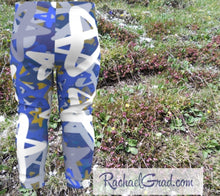 Load image into Gallery viewer, Star Leggings for Babies, Hanukkah Gift for Baby, Blue White Stars Tights, Chanukah Gifts Pants, Star Leggings for Toddlers Clothes Chanukah by Toronto Artist Rachael Grad back