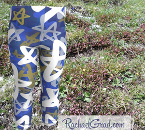 Star Leggings for Babies, Hanukkah Gift for Baby, Blue White Stars Tights, Chanukah Gifts Pants, Star Leggings for Toddlers Clothes Chanukah by Artist Rachael Grad front