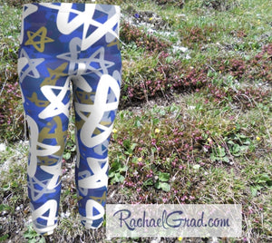 Star Leggings for Babies, Hanukkah Gift for Baby, Blue White Stars Tights, Chanukah Gifts Pants, Star Leggings for Toddlers Clothes Chanukah by Toronto Artist Rachael Grad front