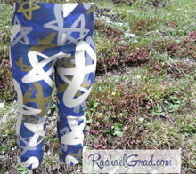 Load image into Gallery viewer, Star Leggings for Babies, Hanukkah Gift for Baby, Blue White Stars Tights, Chanukah Gifts Pants, Star Leggings for Toddlers Clothes Chanukah by Canadian Artist Rachael Grad front