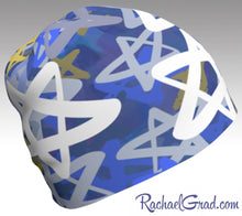 Load image into Gallery viewer, Stars Beanie Hanukkah Winter Hat, Blue and White Toque Women by Artist Rachael Grad