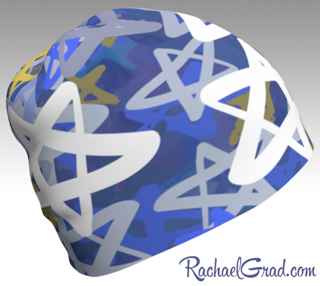 Stars Beanie Hanukkah Winter Hat, Blue and White Toque Women by Artist Rachael Grad