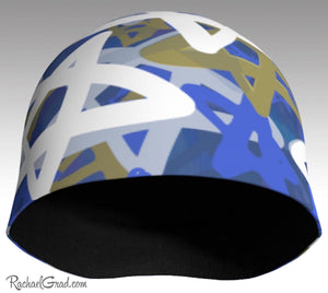 Stars Winter Hat in Blue White by Artist Rachael Grad