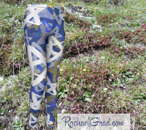 Stars Kids Leggings Hanukkah Gifts for Kids Leggings Tights by Artist Rachael Grad back