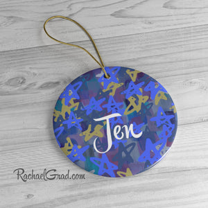 Holiday Ornament with Stars Art by Artist Rachael Grad personalized Christmas Chanukah gift for her