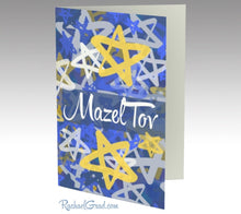Load image into Gallery viewer, Stationery Card Set with Mazel Tov Star Art Note Card by Canadian Artist Rachael Grad