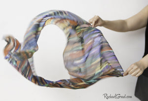Striped Art Scarf in Wind Held in Hands Rachael Grad Artist