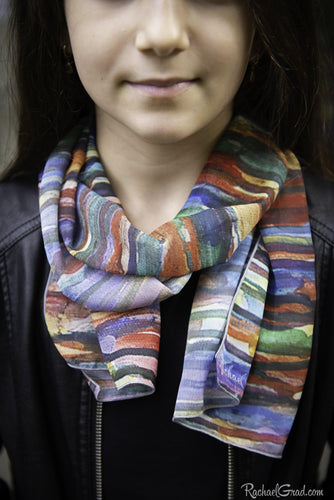 Striped art scarf by Artist Rachael Grad on model