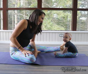 Teal Abstract Art Leggings Dalia Style by Artist Rachael Grad on Jess Pilates and Baby Rachel Mommy and Me Matching Tights