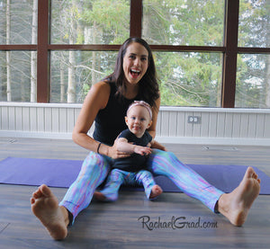 Teal Abstract Art Leggings Dalia Style by Artist Rachael Grad on Jess Pilates and Baby Rachel Mommy and Me Matching TIghts on floor.jp