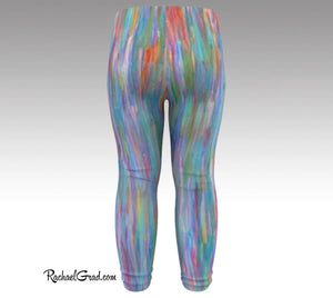 Turquoise Baby Leggings, Teal Baby Tights Art by Artist Rachael Grad back view