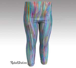 Turquoise Baby Leggings, Teal Baby Tights Art by Artist Rachael Grad front view