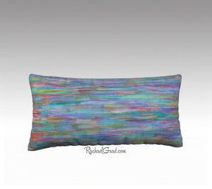 Turquoise Blue Red Teal Multicolor Lines Art Long Pillowcase 24 x 12, Artist Rachael Grad