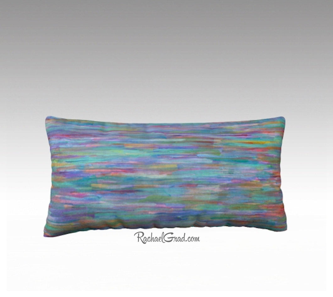 Turquoise Blue Red Lines Long Pillowcase 24 x 12, Artist Rachael Grad