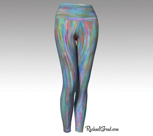Turquoise Yoga Leggings, Colorful Art Tights by Artist Rachael Grad front view