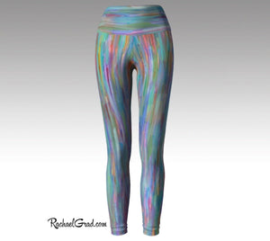 Turquoise Yoga Leggings, Colorful Art Tights by Artist Rachael Grad