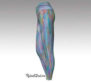 Turquoise Yoga Leggings, Colorful Art Tights by Artist Rachael Grad side view