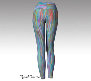 Turquoise Yoga Leggings, Colorful Art Tights by Artist Rachael Grad back view