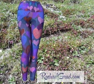 Women's Yoga Leggings with Valentines Hearts by Artist Rachael Grad