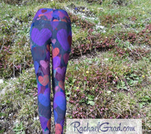 Load image into Gallery viewer, Hearts Yoga Leggings for Women, Valentines Gift for Her by Artist Rachael Grad