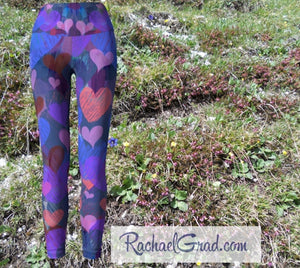 Heart Art Tights Gifts, Valentine Art Pants, Ladies Workout Leggings, Yoga Clothes by Artist Rachael Grad